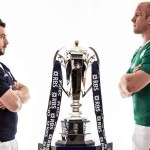 2015 RBS 6 Nations Rugby Championship Round 5 Preview 19/3/2015Scotland vs IrelandScotland captain Greig Laidlaw and Ireland captain Paul O'Connell with the RBS 6 Nations trophy ahead of Saturday's match in Murrayfield, EdinburghMandatory Credit ©INPHO/Billy Stickland